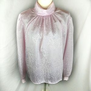 Vintage Mock Collar Pink Cheetah Flowy Shiny Top
